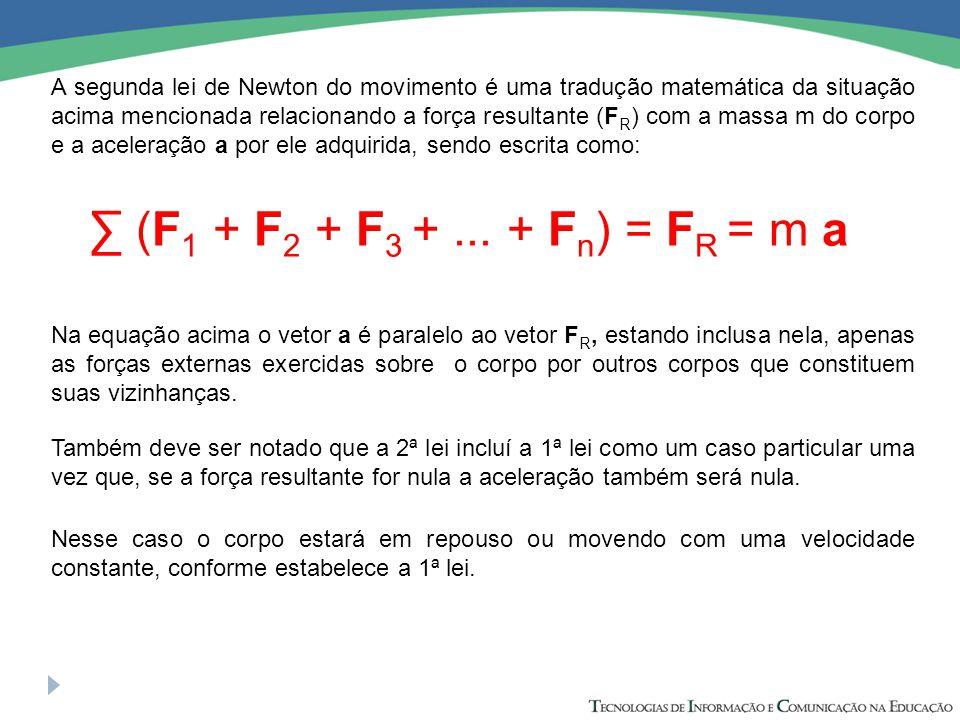 A segunda lei de Newton do movimento é uma tradução matemática da situação acima mencionada relacionando a força resultante (F R ) com a massa m do co