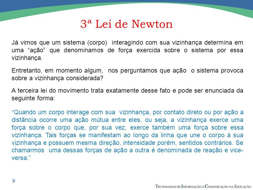 """3ª Lei de Newton Já vimos que um sistema (corpo) interagindo com sua vizinhança determina em uma """"ação"""" que denominamos de força exercida sobre o sist"""