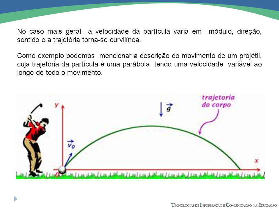 No caso mais geral a velocidade da partícula varia em módulo, direção, sentido e a trajetória torna-se curvilínea. Como exemplo podemos mencionar a de