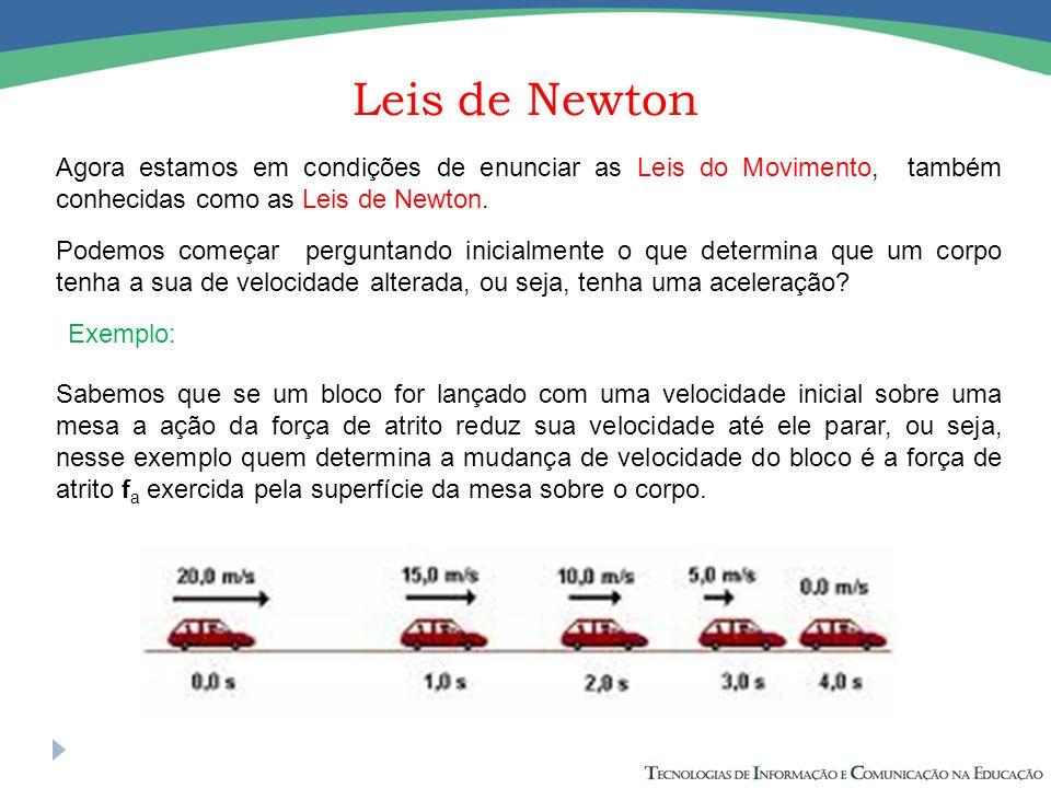 Leis de Newton Agora estamos em condições de enunciar as Leis do Movimento, também conhecidas como as Leis de Newton. Podemos começar perguntando inic