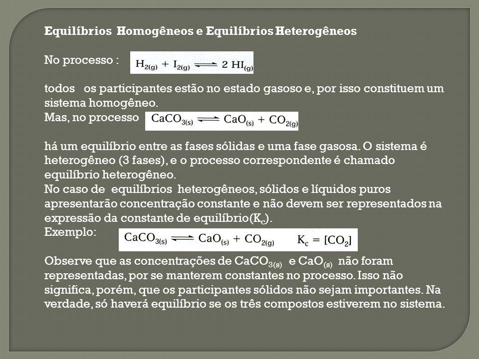 Equilíbrios Homogêneos e Equilíbrios Heterogêneos No processo : todos os participantes estão no estado gasoso e, por isso constituem um sistema homogê