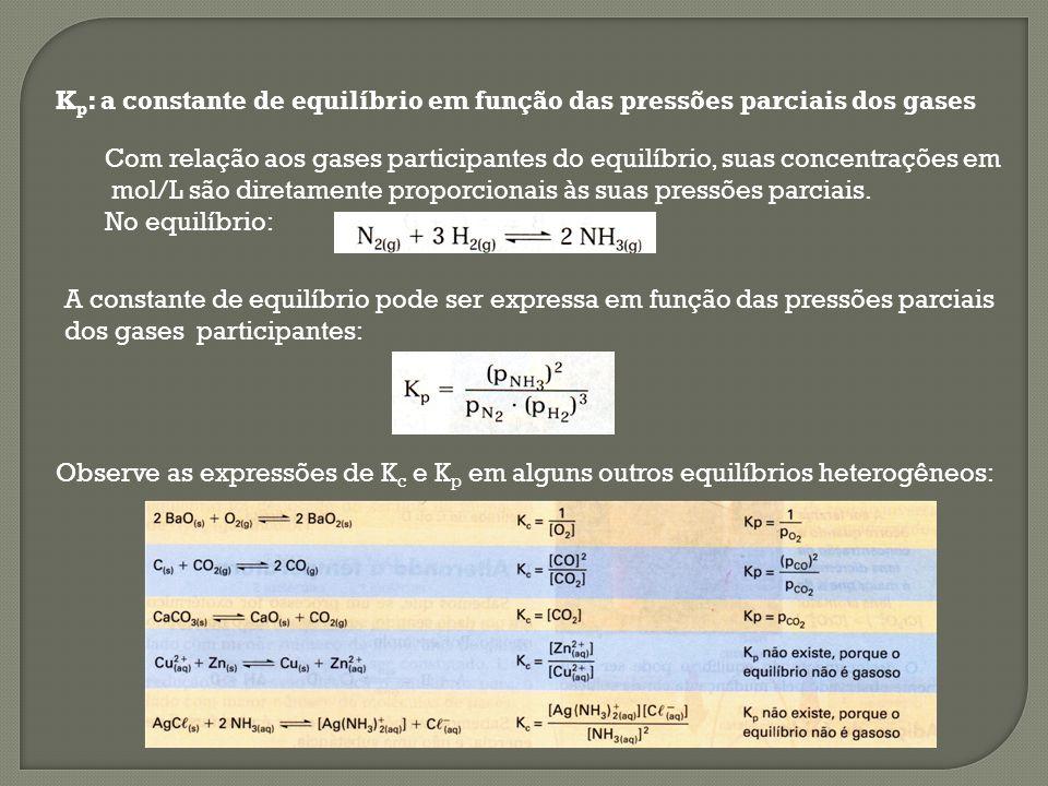 K p : a constante de equilíbrio em função das pressões parciais dos gases Com relação aos gases participantes do equilíbrio, suas concentrações em mol