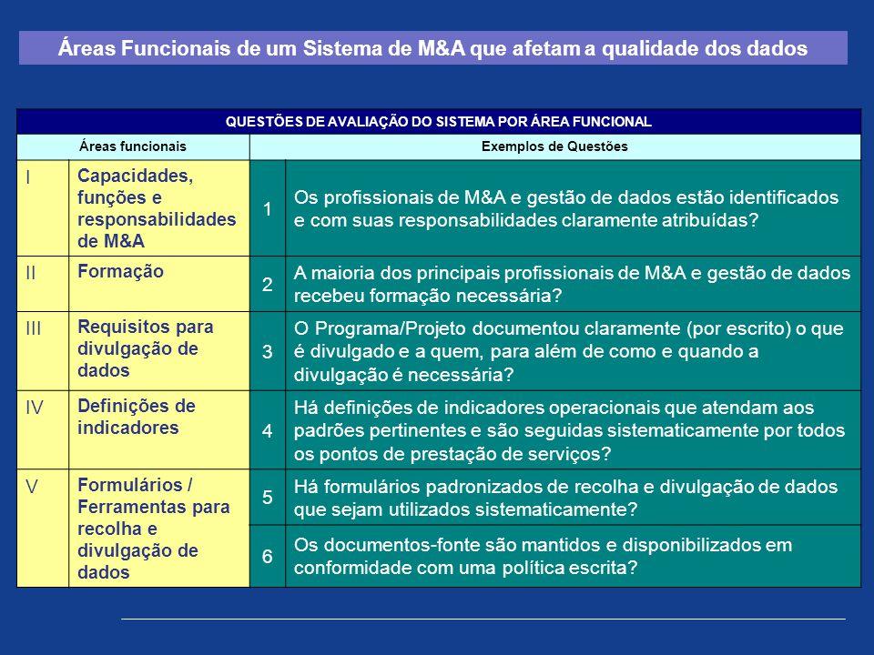 QUESTÕES DE AVALIAÇÃO DO SISTEMA POR ÁREA FUNCIONAL Áreas funcionaisExemplos de Questões I Capacidades, funções e responsabilidades de M&A 1 Os profis