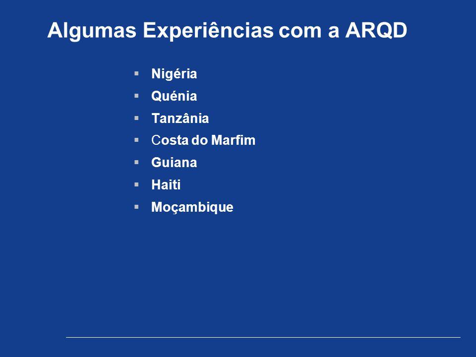 Algumas Experiências com a ARQD  Nigéria  Quénia  Tanzânia  Costa do Marfim  Guiana  Haiti  Moçambique