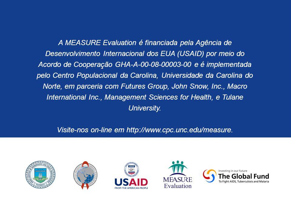 A MEASURE Evaluation é financiada pela Agência de Desenvolvimento Internacional dos EUA (USAID) por meio do Acordo de Cooperação GHA-A-00-08-00003-00