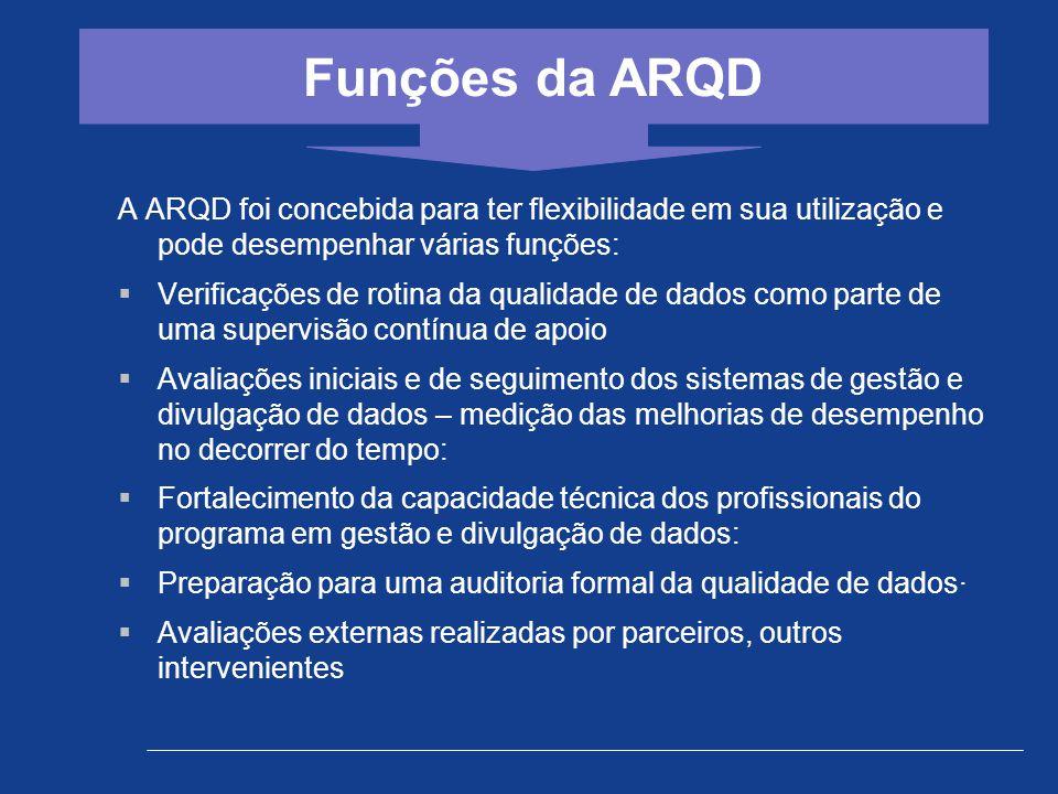 A ARQD foi concebida para ter flexibilidade em sua utilização e pode desempenhar várias funções:  Verificações de rotina da qualidade de dados como p