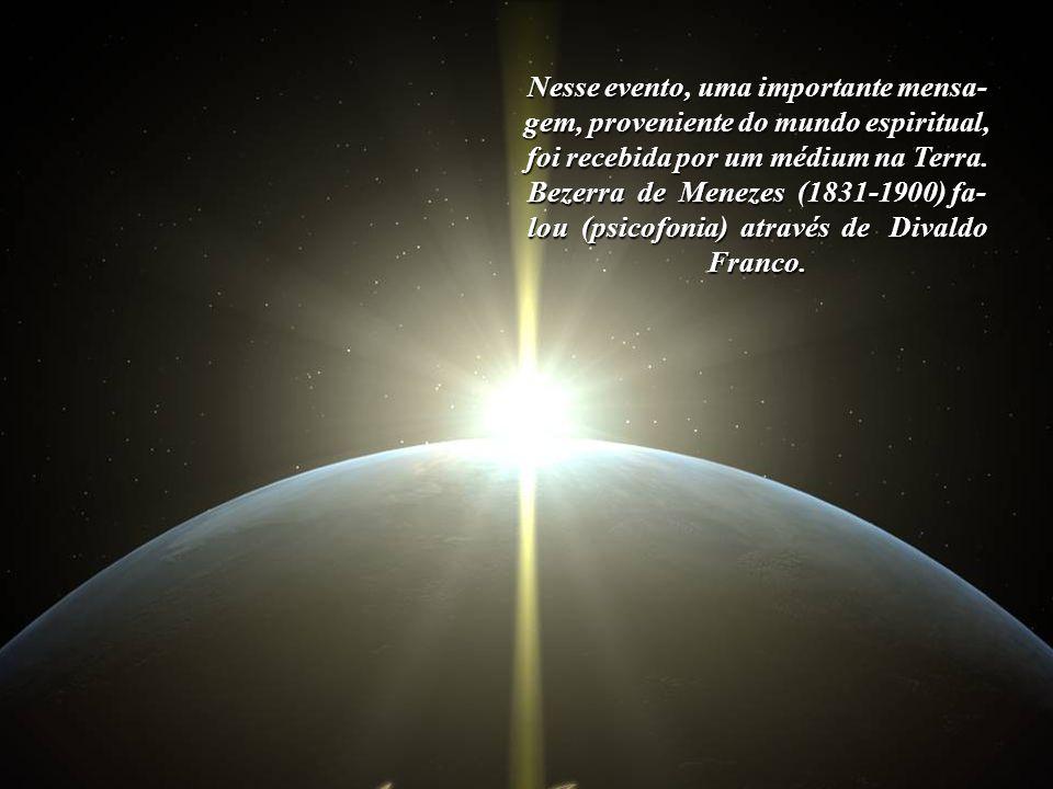 Imagem:http://aagern.com/Img/Earth_space_sun.jpg No dia 20 de abril de 2010, durante o 3º Congresso Espírita Brasileiro, em Brasília, foi anunciado um