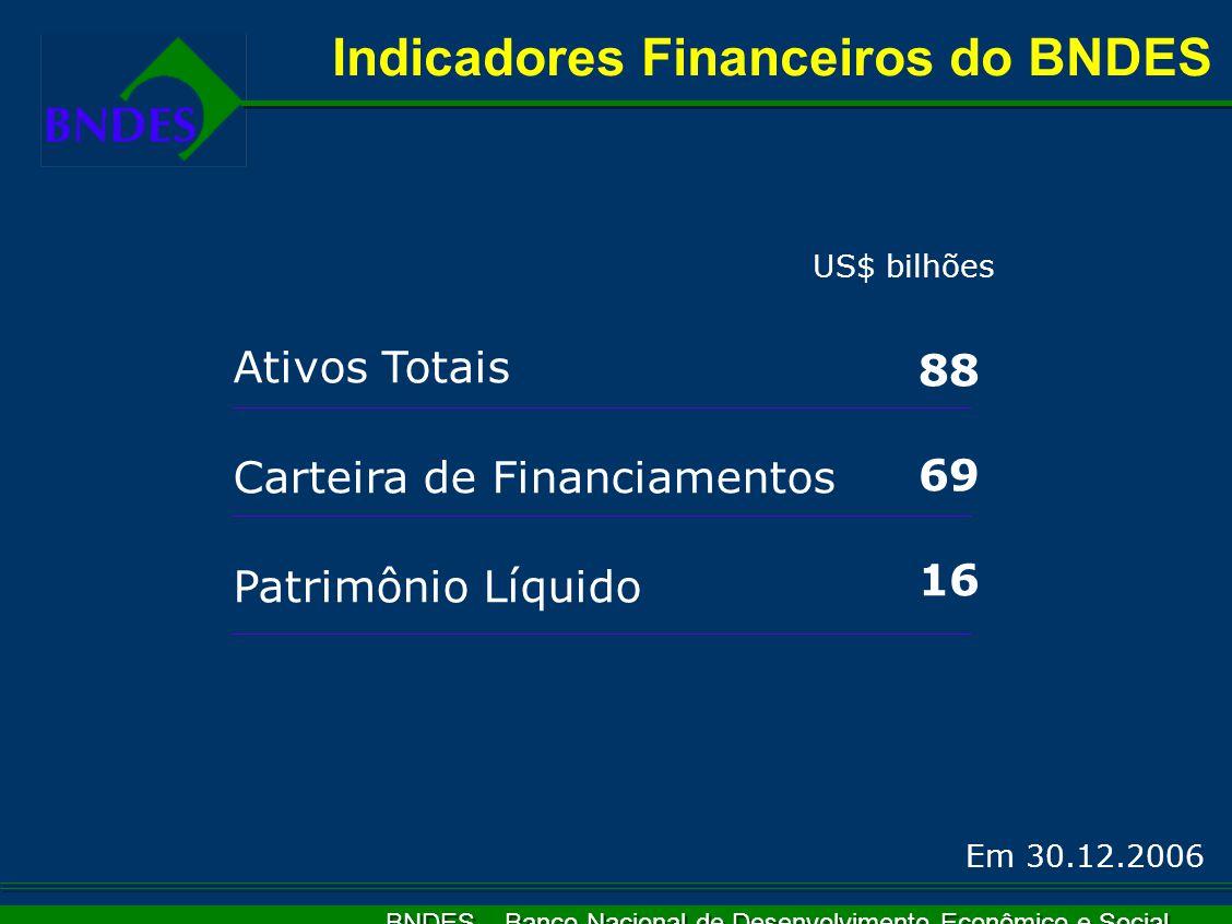 BNDES – Banco Nacional de Desenvolvimento Econômico e Social Indicadores Financeiros do BNDES Ativos Totais Carteira de Financiamentos Patrimônio Líquido 88 69 16 US$ bilhões Em 30.12.2006