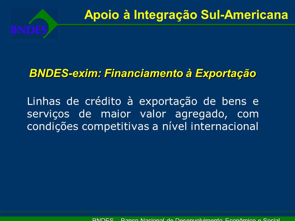 BNDES – Banco Nacional de Desenvolvimento Econômico e Social Linhas de crédito à exportação de bens e serviços de maior valor agregado, com condições competitivas a nível internacional Apoio à Integração Sul-Americana BNDES-exim: Financiamento à Exportação