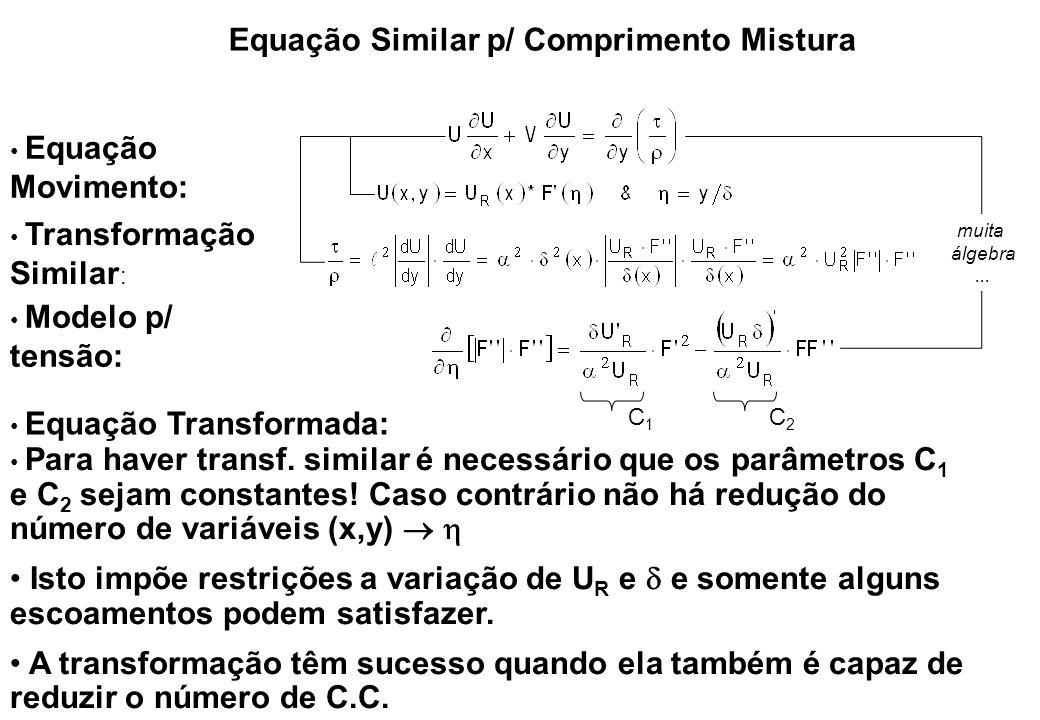 Equação Similar p/ Comprimento Mistura Equação Movimento: Transformação Similar : Modelo p/ tensão: Para haver transf. similar é necessário que os par