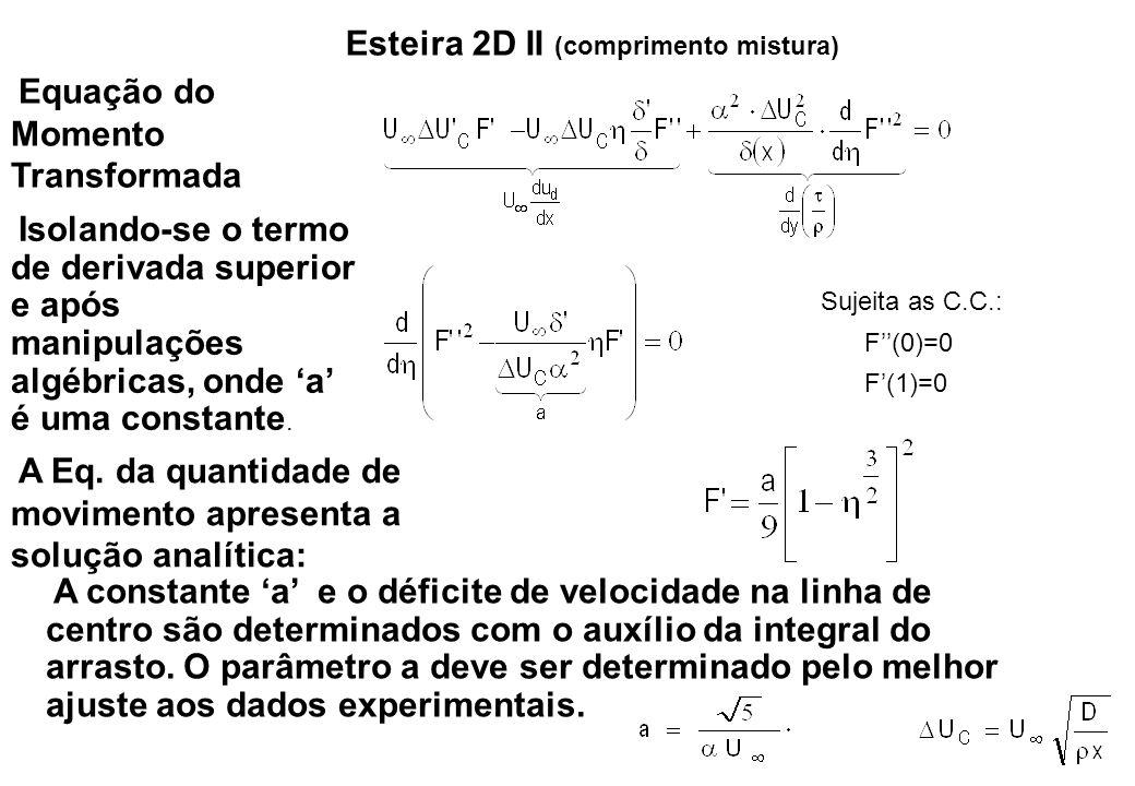 Esteira 2D II (comprimento mistura) Equação do Momento Transformada Isolando-se o termo de derivada superior e após manipulações algébricas, onde 'a'