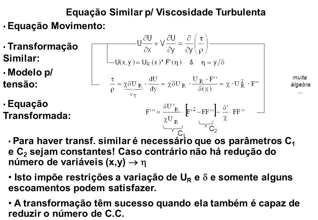 Equação Similar p/ Viscosidade Turbulenta Equação Movimento: Transformação Similar: Modelo p/ tensão: Para haver transf. similar é necessário que os p