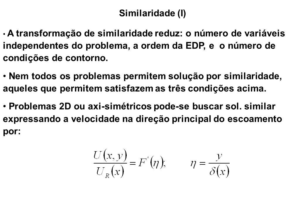 Similaridade (I) (x,y) - direções paralela (principal) e ortogonal ao escoamento U(x,y) - velocidade na direção principal U R (x) - velocidade de referência, varia ao longo da direção principal  (x) - escala característica para direção transversal ao escoamento  (x,y) - variável similar F(  ) - função similar a ser determinada