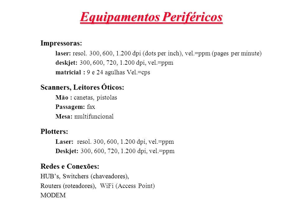 Equipamentos Periféricos Impressoras Impressoras: laser: resol. 300, 600, 1.200 dpi (dots per inch), vel.=ppm (pages per minute) deskjet: 300, 600, 72