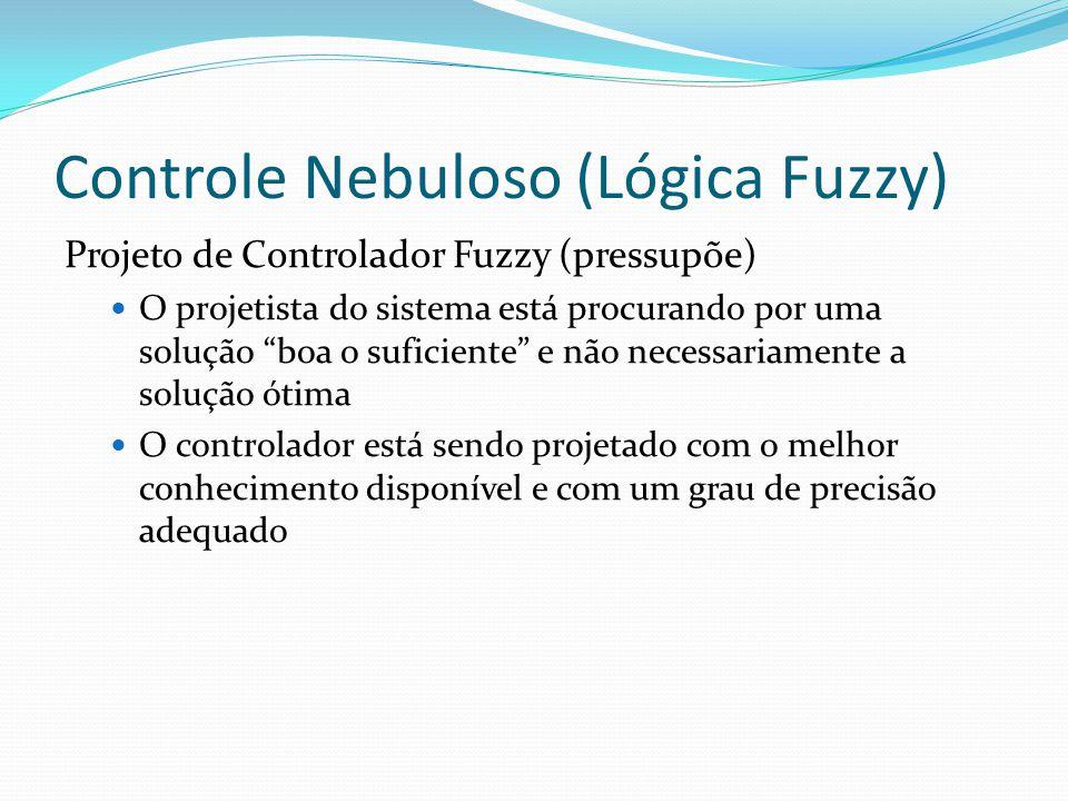 Controle Nebuloso (Lógica Fuzzy) Projeto de Controlador Fuzzy (pressupõe) O projetista do sistema está procurando por uma solução boa o suficiente e não necessariamente a solução ótima O controlador está sendo projetado com o melhor conhecimento disponível e com um grau de precisão adequado