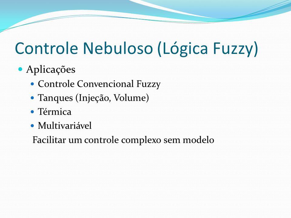 Controle Nebuloso (Lógica Fuzzy) Aplicações Controle Convencional Fuzzy Tanques (Injeção, Volume) Térmica Multivariável Facilitar um controle complexo sem modelo