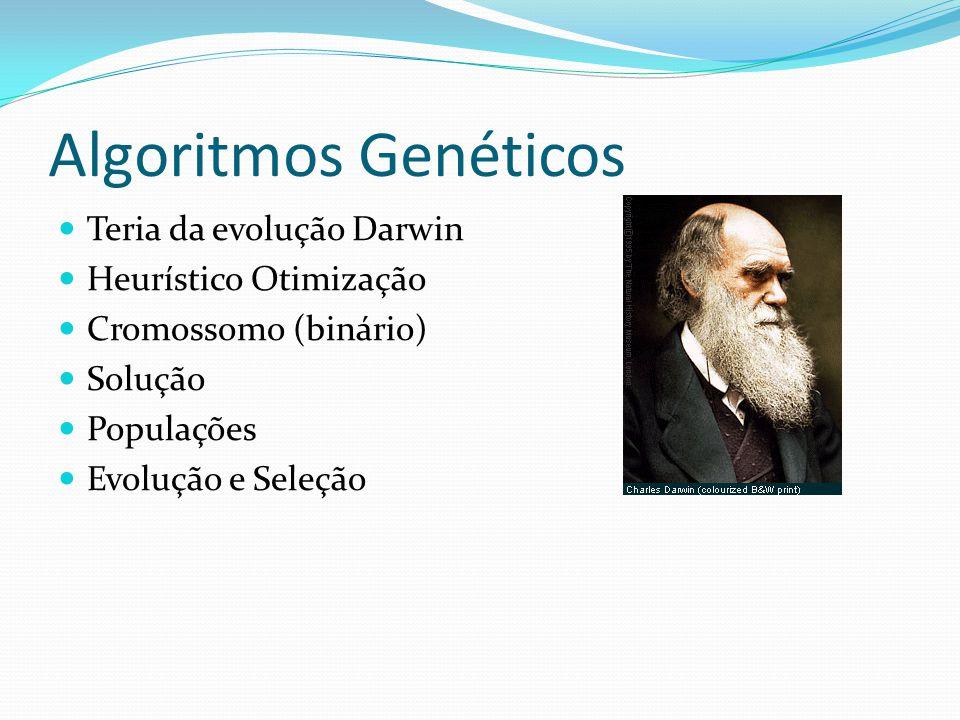 Teria da evolução Darwin Heurístico Otimização Cromossomo (binário) Solução Populações Evolução e Seleção