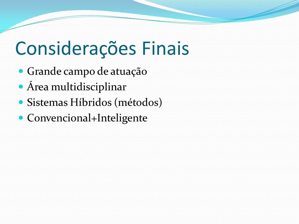 Considerações Finais Grande campo de atuação Área multidisciplinar Sistemas Híbridos (métodos) Convencional+Inteligente