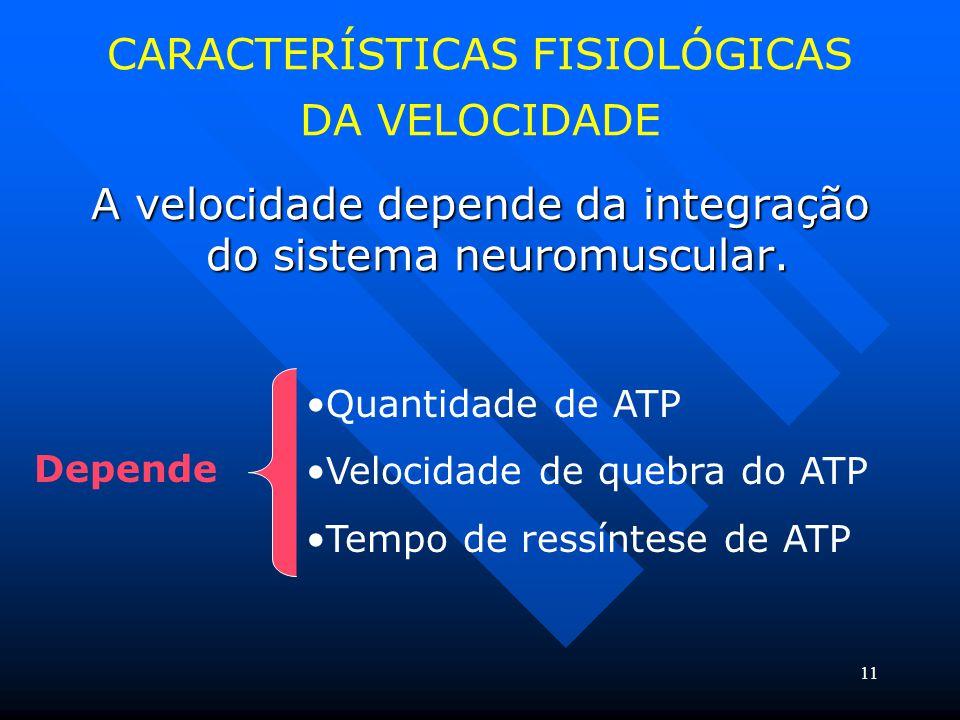 11 CARACTERÍSTICAS FISIOLÓGICAS DA VELOCIDADE A velocidade depende da integração do sistema neuromuscular. Depende Quantidade de ATP Velocidade de que