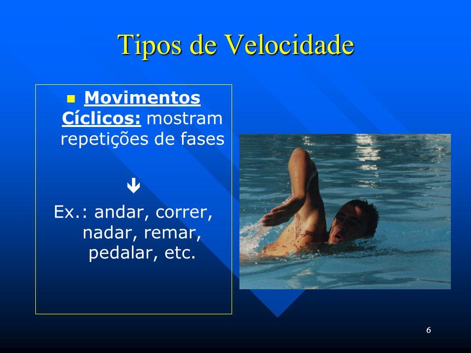 6 Tipos de Velocidade Movimentos Cíclicos: mostram repetições de fases  Ex.: andar, correr, nadar, remar, pedalar, etc.