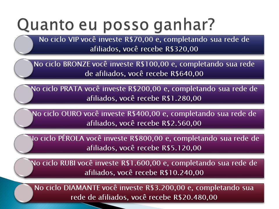 No ciclo VIP você investe R$70,00 e, completando sua rede de afiliados, você recebe R$320,00 No ciclo BRONZE você investe R$100,00 e, completando sua rede de afiliados, você recebe R$640,00 No ciclo PRATA você investe R$200,00 e, completando sua rede de afiliados, você recebe R$1.280,00 No ciclo OURO você investe R$400,00 e, completando sua rede de afiliados, você recebe R$2.560,00 No ciclo PÉROLA você investe R$800,00 e, completando sua rede de afiliados, você recebe R$5.120,00 No ciclo RUBI você investe R$1.600,00 e, completando sua rede de afiliados, você recebe R$10.240,00 No ciclo DIAMANTE você investe R$3.200,00 e, completando sua rede de afiliados, você recebe R$20.480,00