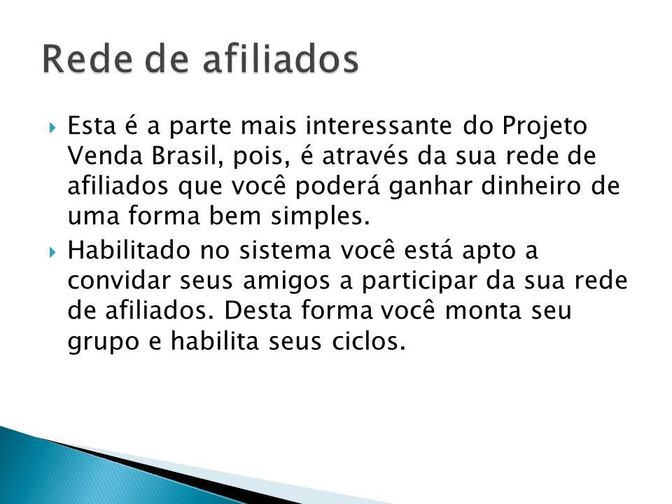 Esta é a parte mais interessante do Projeto Venda Brasil, pois, é através da sua rede de afiliados que você poderá ganhar dinheiro de uma forma bem