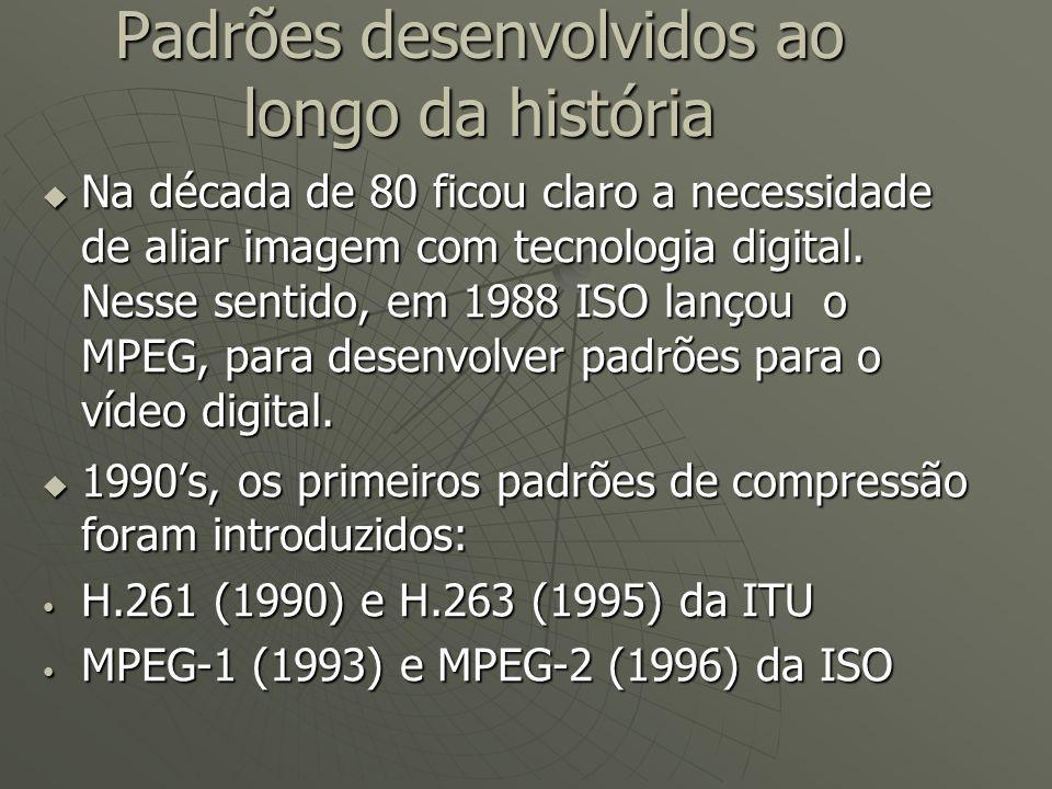 Padrões desenvolvidos ao longo da história  Na década de 80 ficou claro a necessidade de aliar imagem com tecnologia digital. Nesse sentido, em 1988