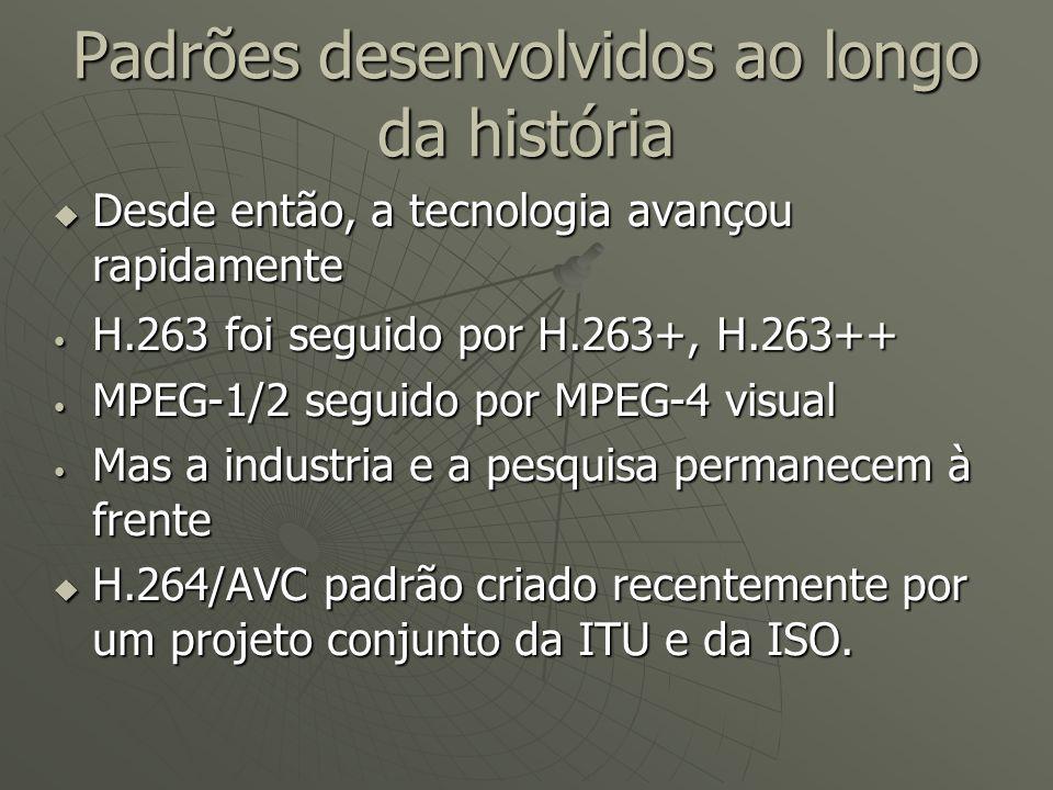 Padrões desenvolvidos ao longo da história  Desde então, a tecnologia avançou rapidamente H.263 foi seguido por H.263+, H.263++ H.263 foi seguido por H.263+, H.263++ MPEG-1/2 seguido por MPEG-4 visual MPEG-1/2 seguido por MPEG-4 visual Mas a industria e a pesquisa permanecem à frente Mas a industria e a pesquisa permanecem à frente  H.264/AVC padrão criado recentemente por um projeto conjunto da ITU e da ISO.