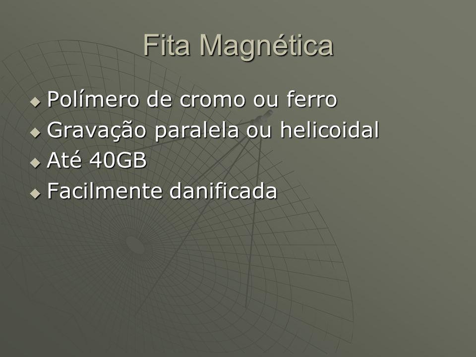 Fita Magnética  Polímero de cromo ou ferro  Gravação paralela ou helicoidal  Até 40GB  Facilmente danificada
