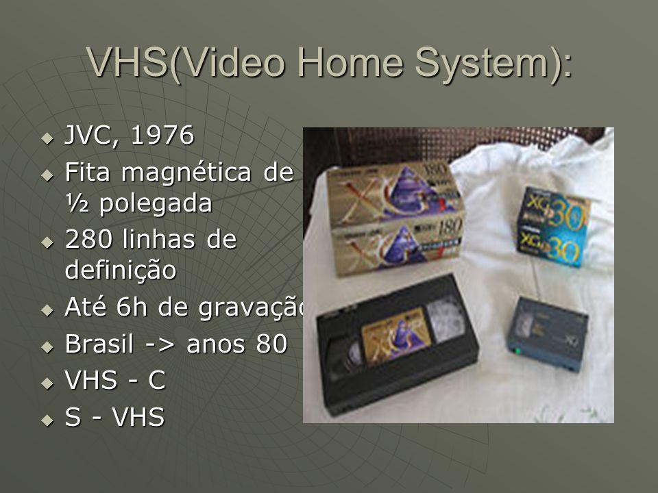 VHS(Video Home System):  JVC, 1976  Fita magnética de ½ polegada  280 linhas de definição  Até 6h de gravação  Brasil -> anos 80  VHS - C  S -