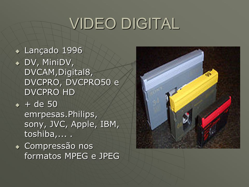 VIDEO DIGITAL  Lançado 1996  DV, MiniDV, DVCAM,Digital8, DVCPRO, DVCPRO50 e DVCPRO HD  + de 50 emrpesas.Philips, sony, JVC, Apple, IBM, toshiba,....