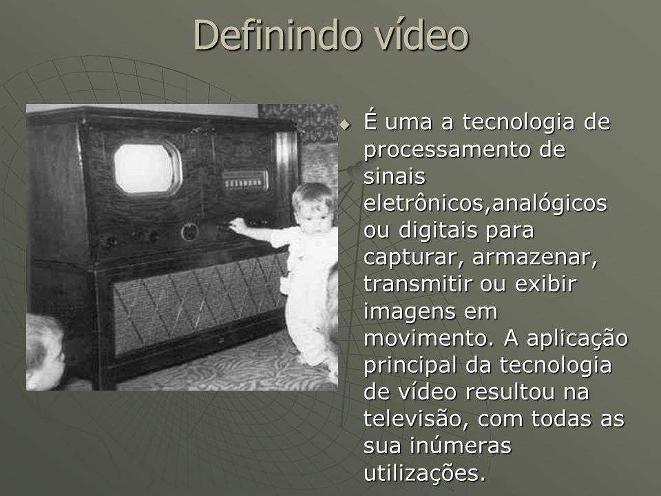 Definindo vídeo  É uma a tecnologia de processamento de sinais eletrônicos,analógicos ou digitais para capturar, armazenar, transmitir ou exibir imag