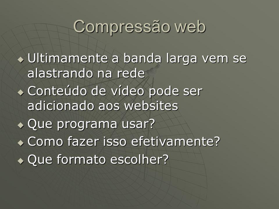 Compressão web  Ultimamente a banda larga vem se alastrando na rede  Conteúdo de vídeo pode ser adicionado aos websites  Que programa usar?  Como