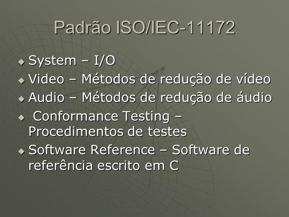Padrão ISO/IEC-11172  System – I/O  Video – Métodos de redução de vídeo  Audio – Métodos de redução de áudio  Conformance Testing – Procedimentos de testes  Software Reference – Software de referência escrito em C