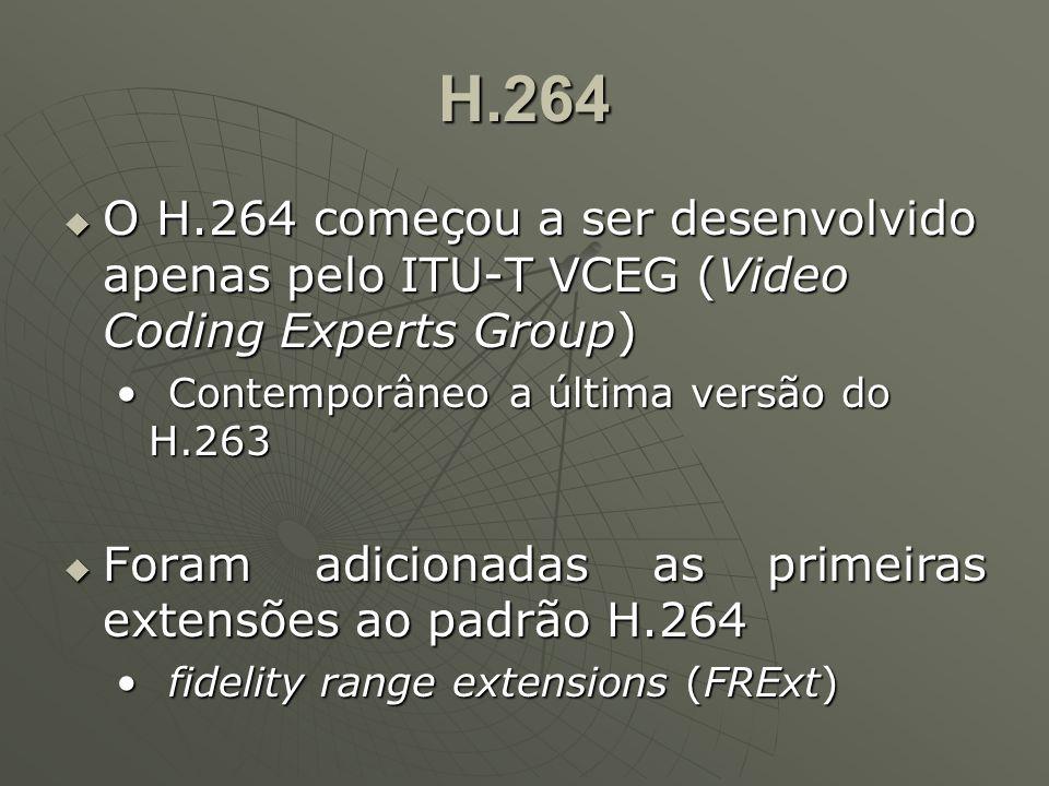 H.264  O H.264 começou a ser desenvolvido apenas pelo ITU-T VCEG (Video Coding Experts Group) Contemporâneo a última versão do H.263Contemporâneo a última versão do H.263  Foram adicionadas as primeiras extensões ao padrão H.264 fidelity range extensions (FRExt)fidelity range extensions (FRExt)