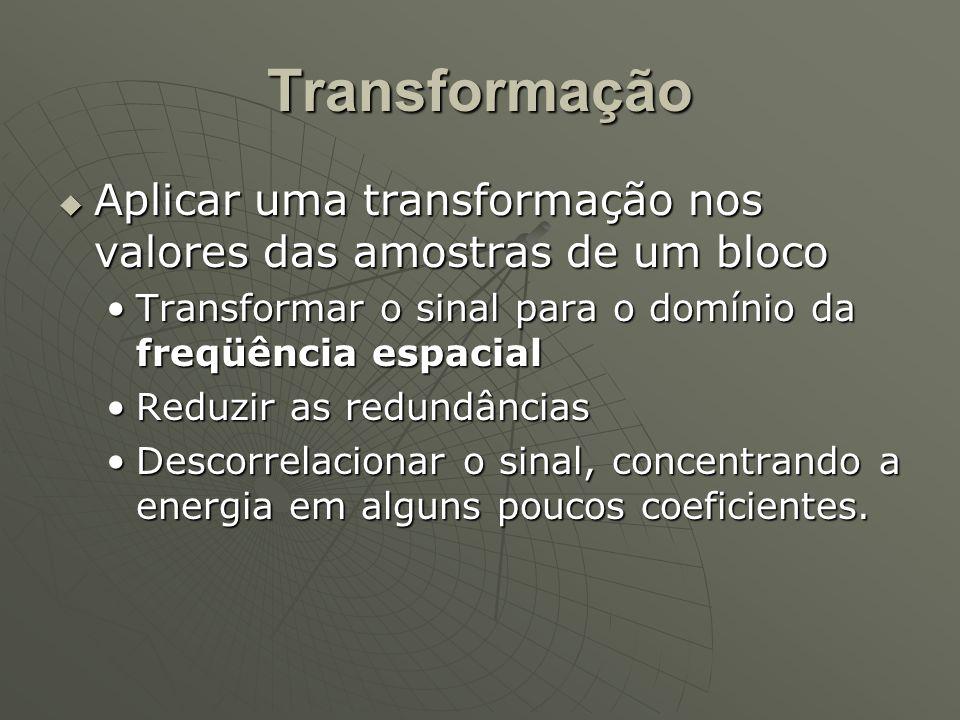 Transformação  Aplicar uma transformação nos valores das amostras de um bloco Transformar o sinal para o domínio da freqüência espacialTransformar o sinal para o domínio da freqüência espacial Reduzir as redundânciasReduzir as redundâncias Descorrelacionar o sinal, concentrando a energia em alguns poucos coeficientes.Descorrelacionar o sinal, concentrando a energia em alguns poucos coeficientes.