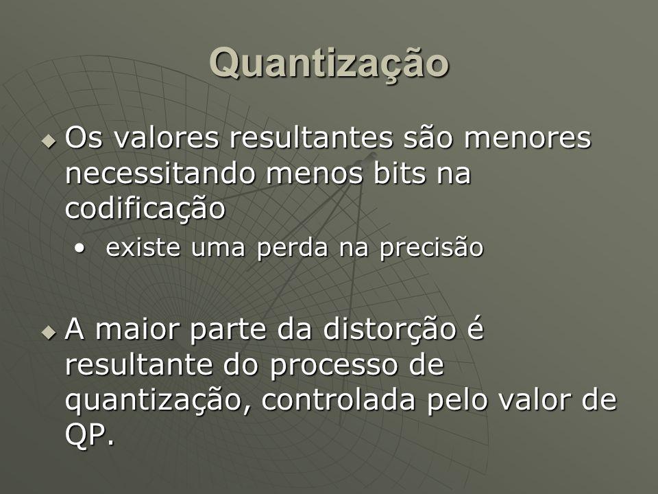 Quantização  Os valores resultantes são menores necessitando menos bits na codificação existe uma perda na precisãoexiste uma perda na precisão  A maior parte da distorção é resultante do processo de quantização, controlada pelo valor de QP.