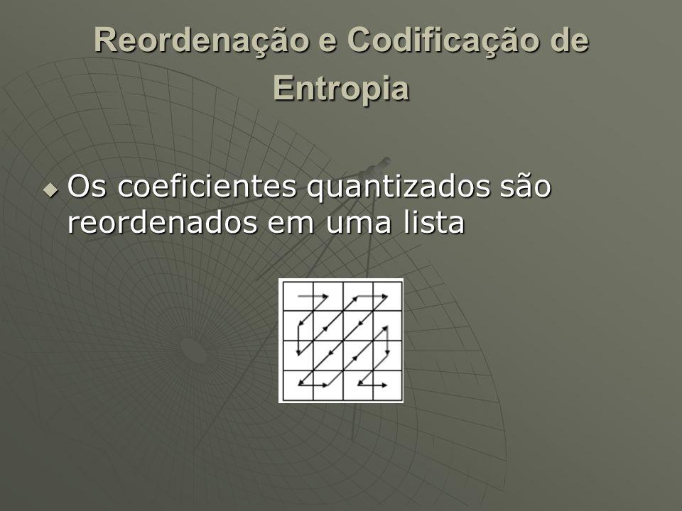 Reordenação e Codificação de Entropia  Os coeficientes quantizados são reordenados em uma lista