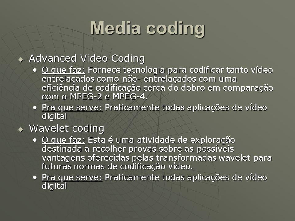 Media coding  Advanced Video Coding O que faz: Fornece tecnologia para codificar tanto vídeo entrelaçados como não- entrelaçados com uma eficiência d