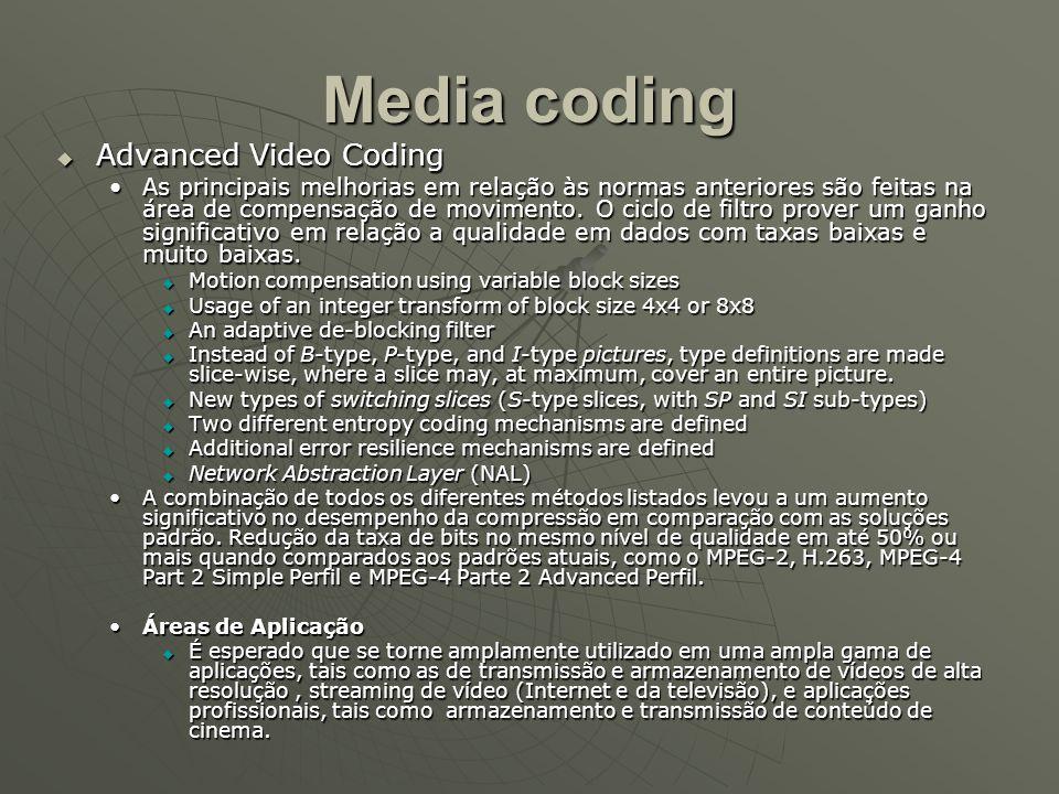 Media coding  Advanced Video Coding As principais melhorias em relação às normas anteriores são feitas na área de compensação de movimento.