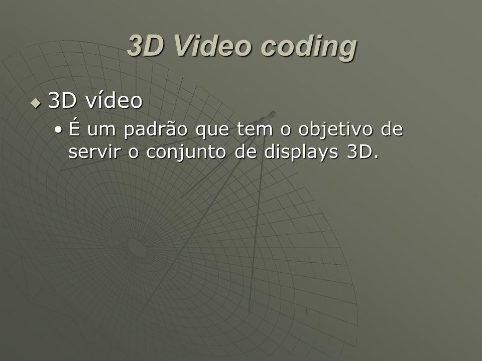 3D Video coding  3D vídeo É um padrão que tem o objetivo de servir o conjunto de displays 3D.É um padrão que tem o objetivo de servir o conjunto de displays 3D.