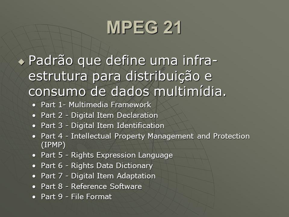 MPEG 21  Padrão que define uma infra- estrutura para distribuição e consumo de dados multimídia. Part 1- Multimedia FrameworkPart 1- Multimedia Frame