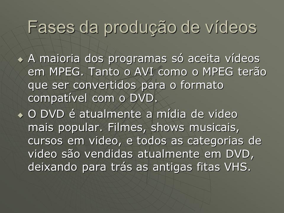 Fases da produção de vídeos  A maioria dos programas só aceita vídeos em MPEG. Tanto o AVI como o MPEG terão que ser convertidos para o formato compa