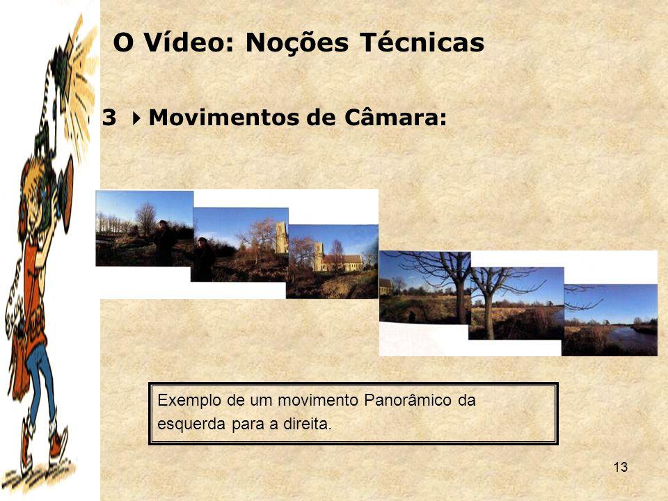 13 3  Movimentos de Câmara: O Vídeo: Noções Técnicas Exemplo de um movimento Panorâmico da esquerda para a direita.