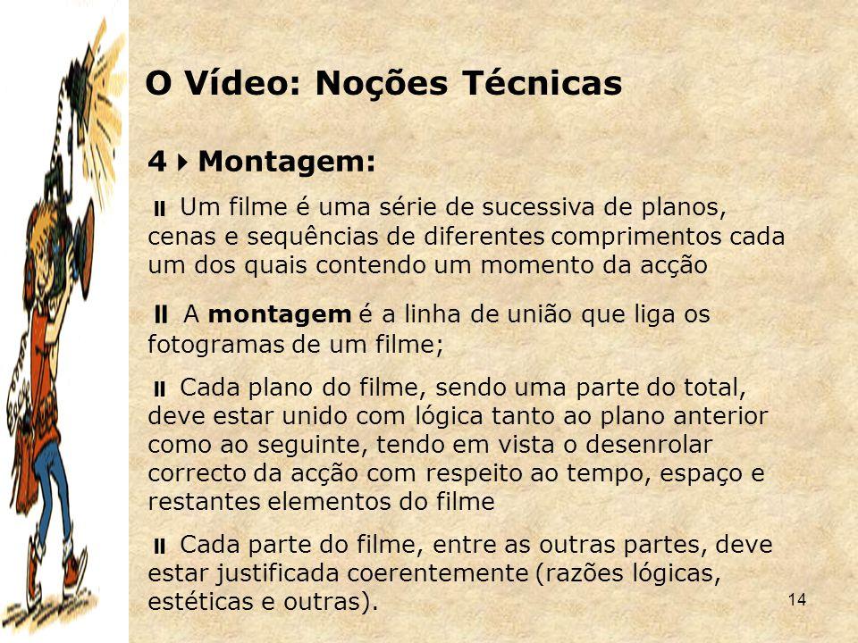 14 4  Montagem:  Um filme é uma série de sucessiva de planos, cenas e sequências de diferentes comprimentos cada um dos quais contendo um momento da