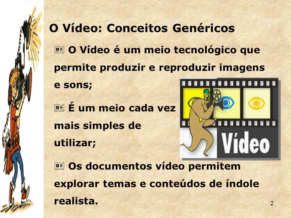 2 O Vídeo: Conceitos Genéricos  O Vídeo é um meio tecnológico que permite produzir e reproduzir imagens e sons;  É um meio cada vez mais simples de