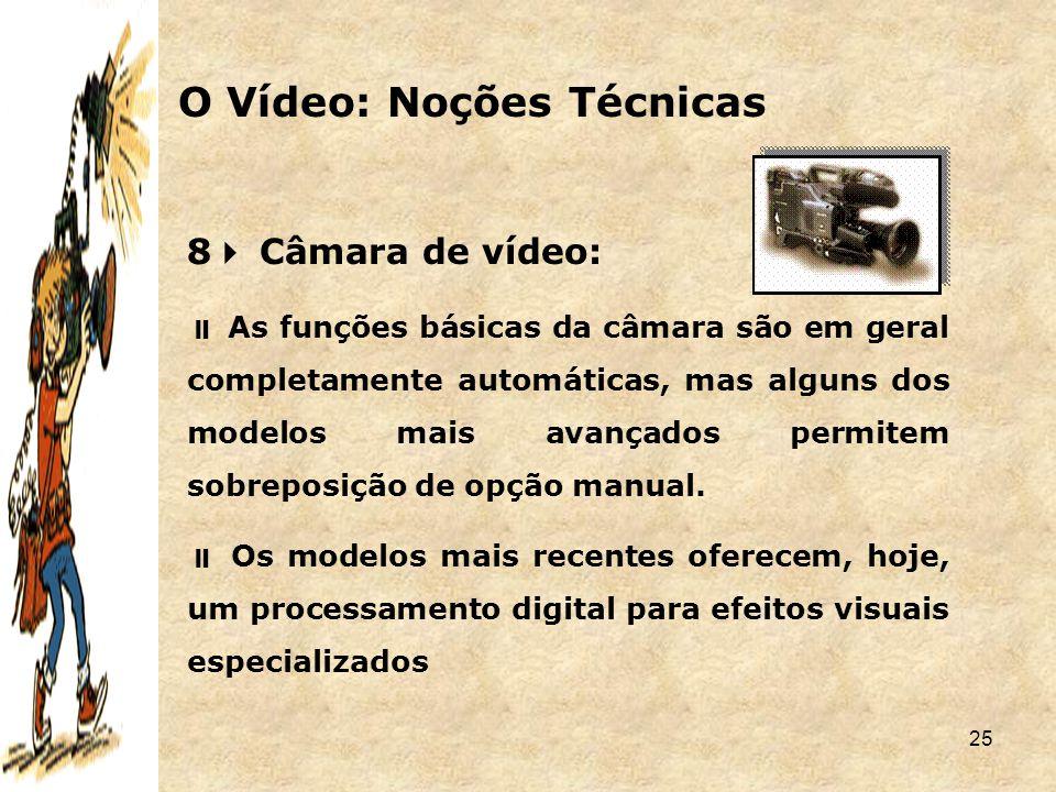 25 8  Câmara de vídeo:  As funções básicas da câmara são em geral completamente automáticas, mas alguns dos modelos mais avançados permitem sobrepos