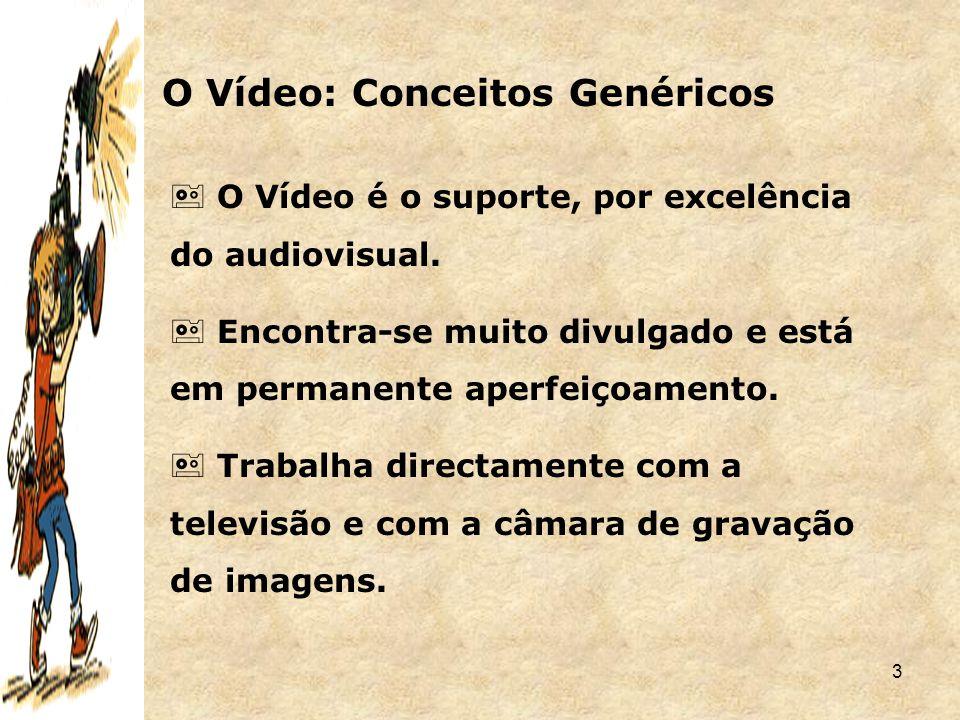 3 O Vídeo: Conceitos Genéricos  O Vídeo é o suporte, por excelência do audiovisual.  Encontra-se muito divulgado e está em permanente aperfeiçoament