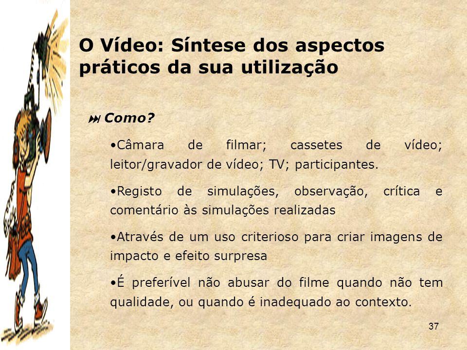 37  Como? Câmara de filmar; cassetes de vídeo; leitor/gravador de vídeo; TV; participantes. Registo de simulações, observação, crítica e comentário à