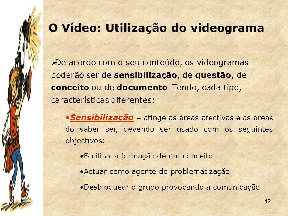 42  De acordo com o seu conteúdo, os videogramas poderão ser de sensibilização, de questão, de conceito ou de documento. Tendo, cada tipo, caracterís